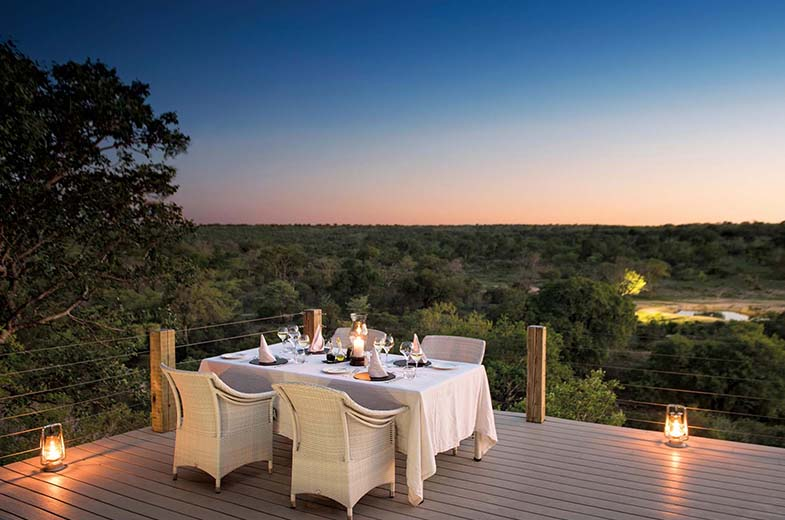 Dinner on the deck at Leopard Hills