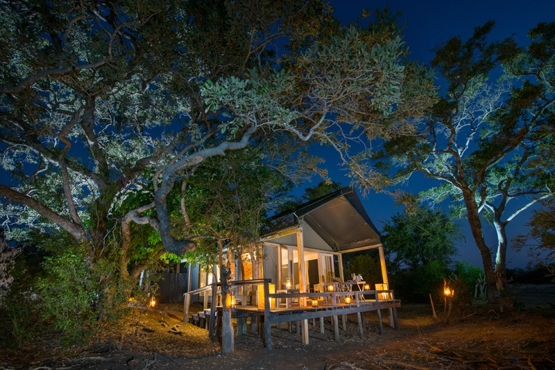 Simabavati River Lodge safari tent at night