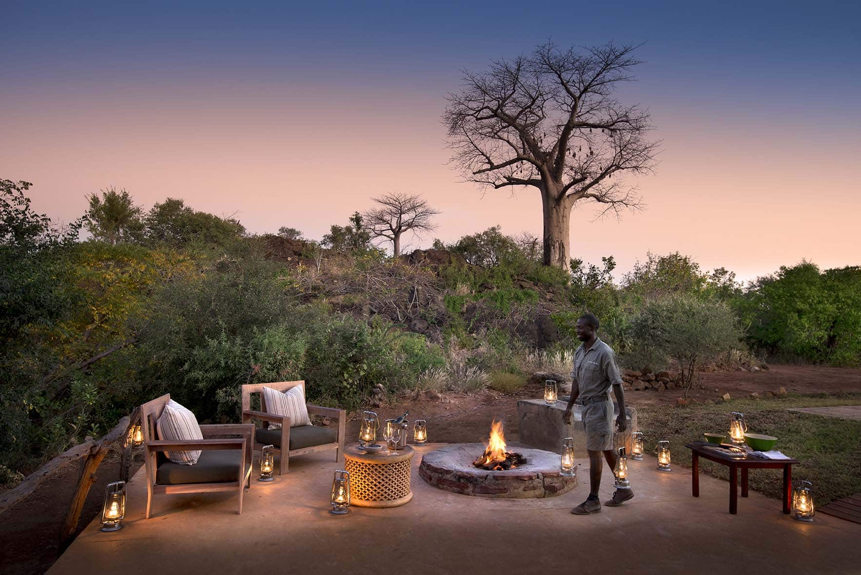Baobab Hill Bush House campfire
