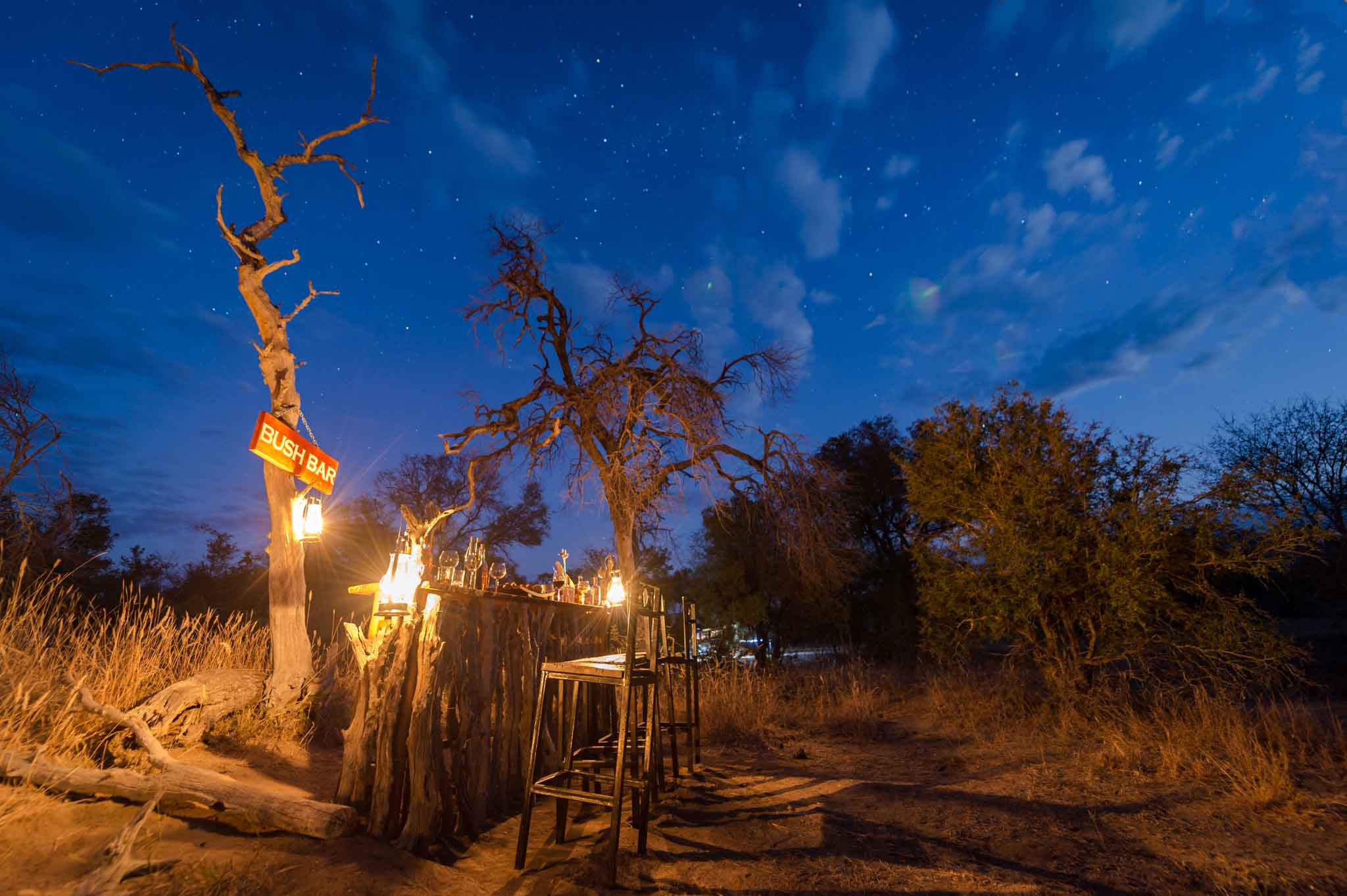 Africa on Foot bush bar at night