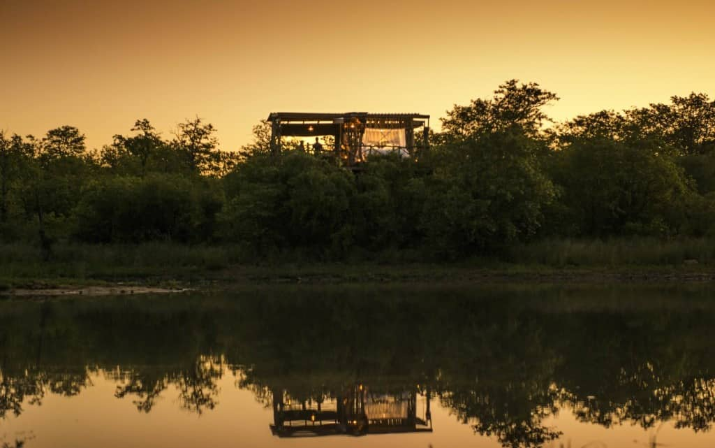 Giraffe's Nest hide at Motswari, dusk