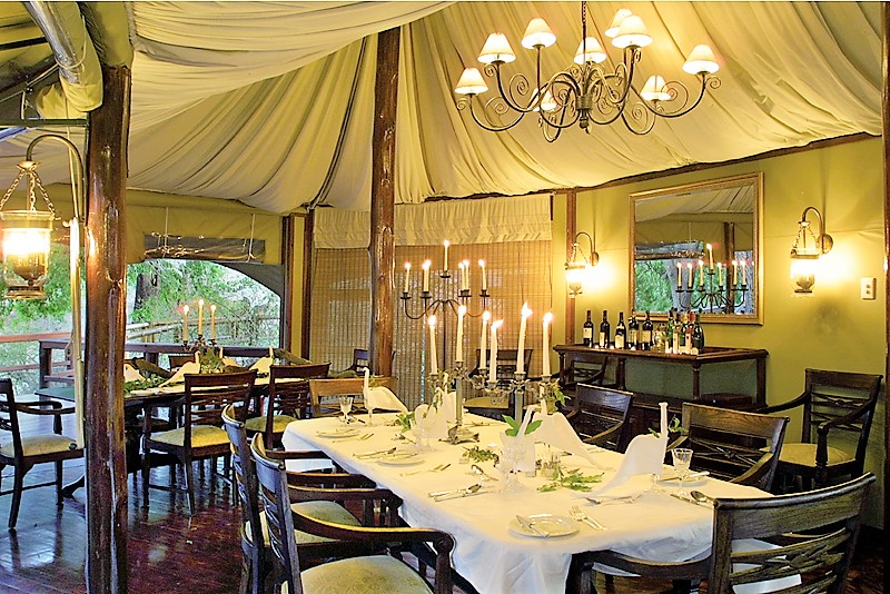 Dining at Hamiltons Tented Camp