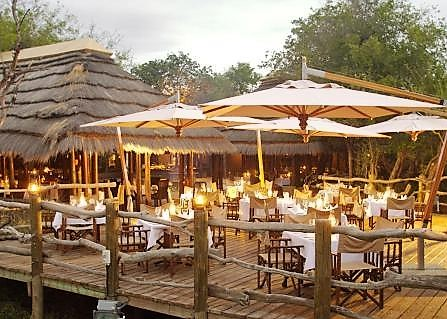 Dinner on rhino deck at Kapama River Lodge