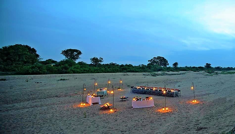 Ngala Tented Camp riverbed supper