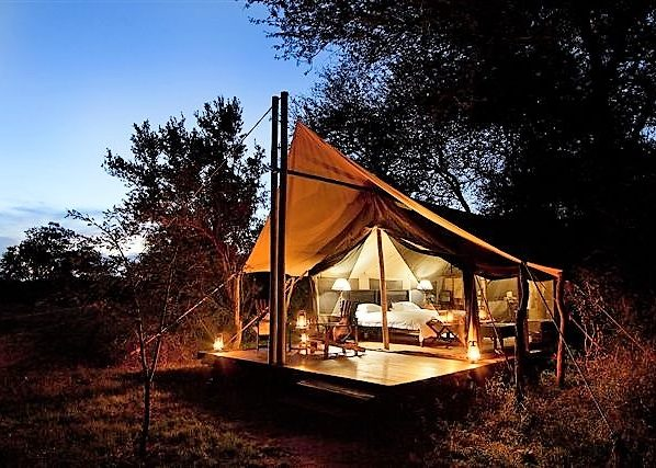 Rhino Walking Safaris Plains Camp tent at night