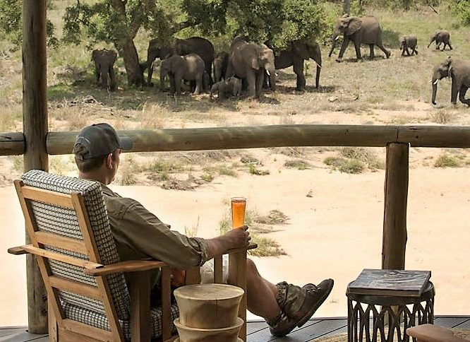 Elephant fron the deck at Tanda Tula Safari Camp