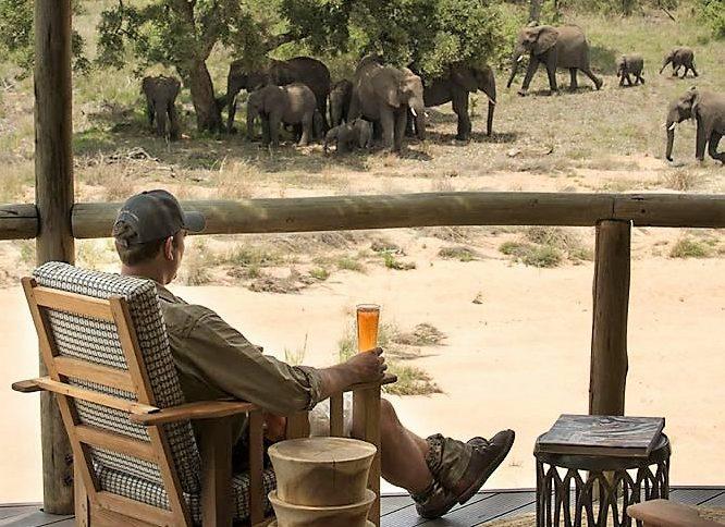 Elephant fron the deck at Tanda Tula Safari Camp