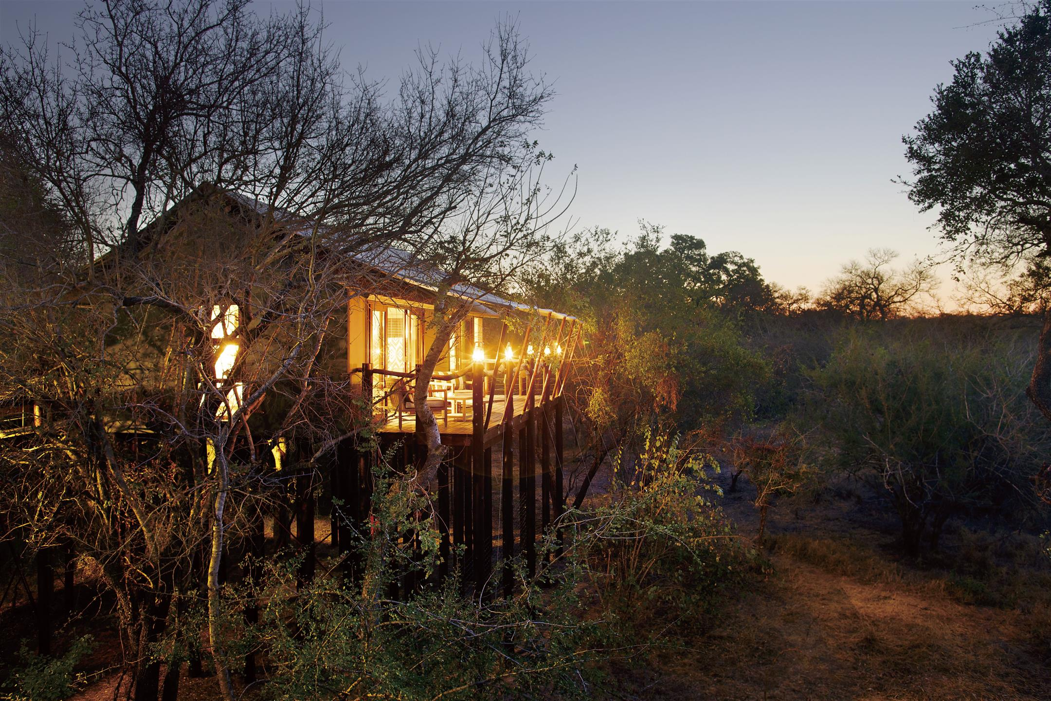 Kapama Buffalo Camp exterior at dusk
