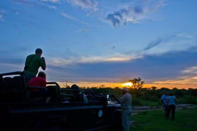 Sundowners on drive at Umlani