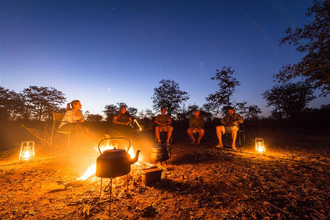 Campfire at Africa on Foot trail