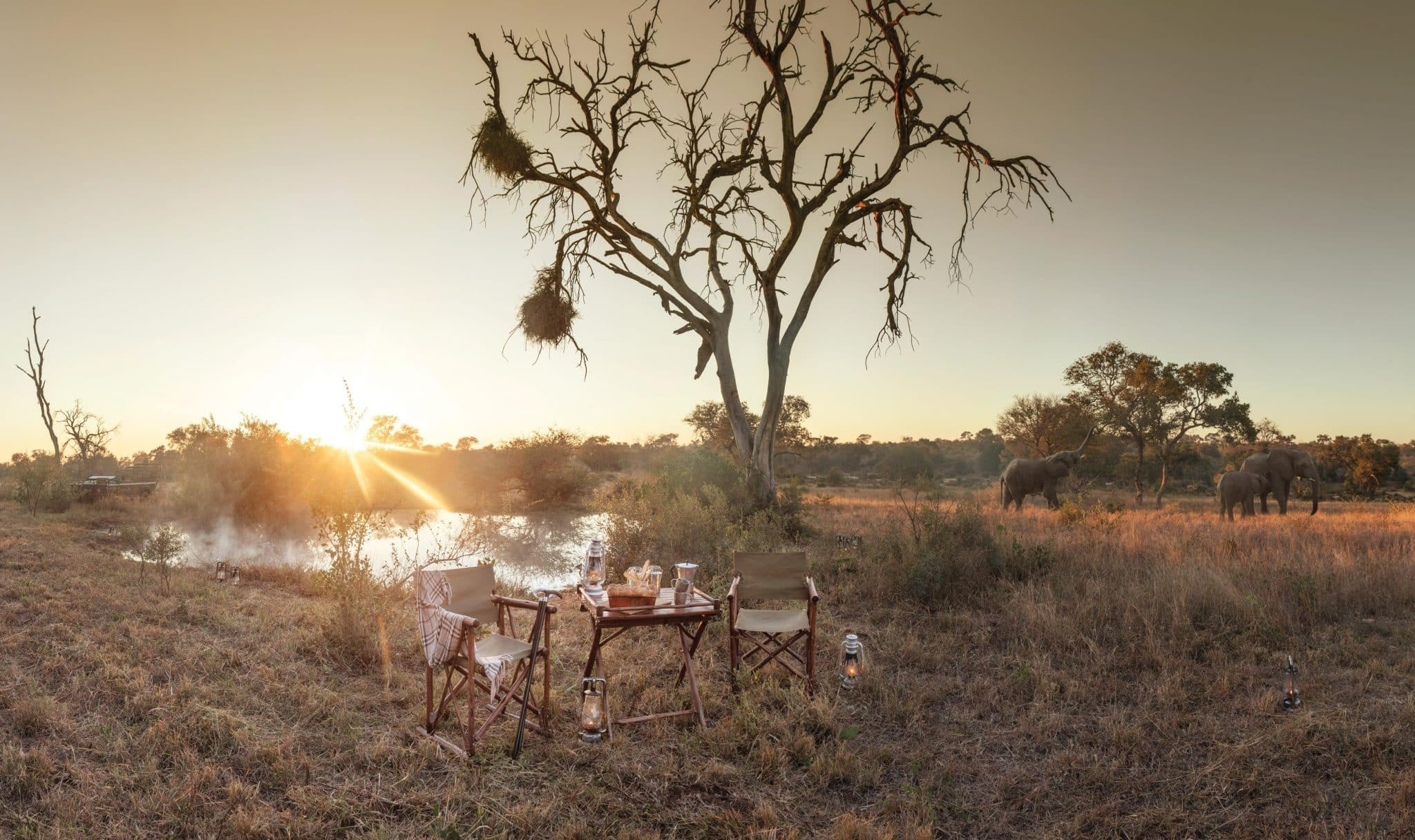 Afternoon tea at Kings Camp waterhole