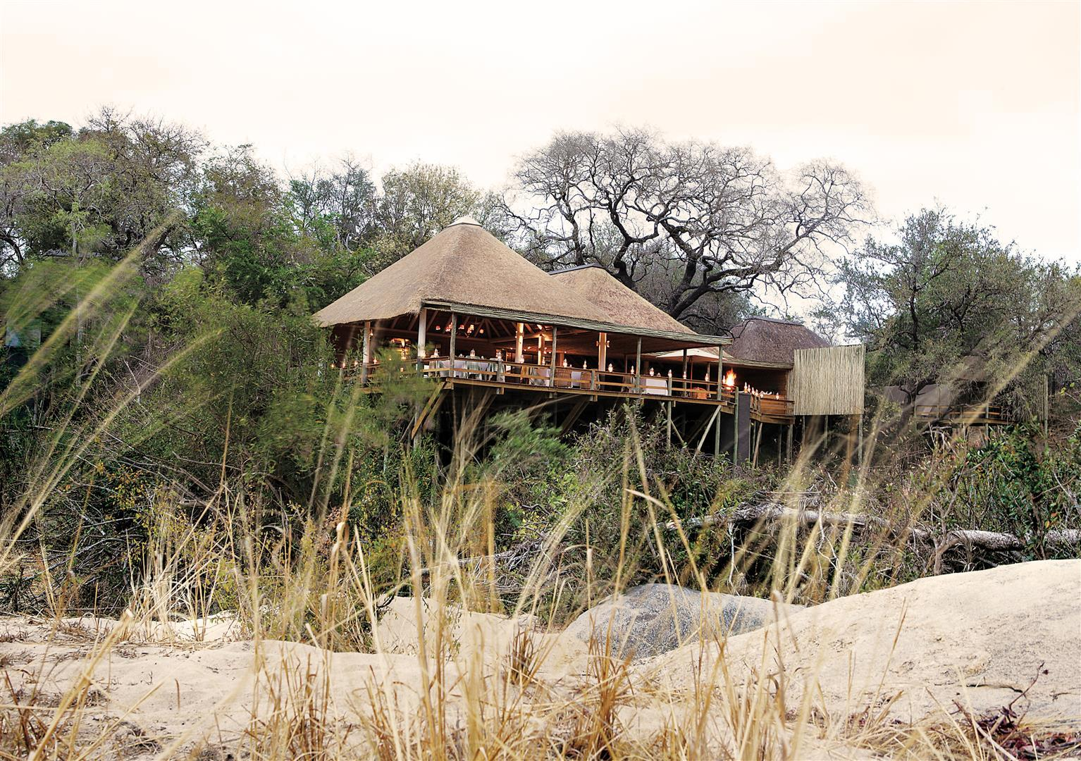 Londolozi Founders Camp from riverbed