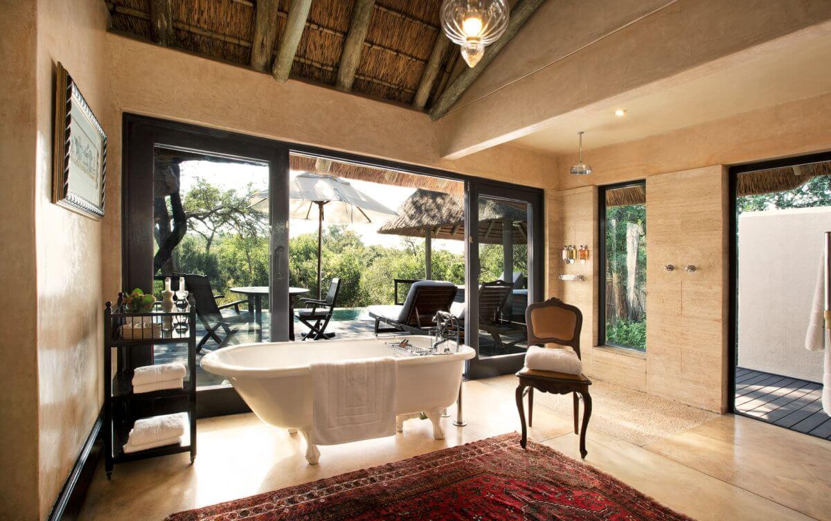 Luxury suite bathroom at Royal Malewane