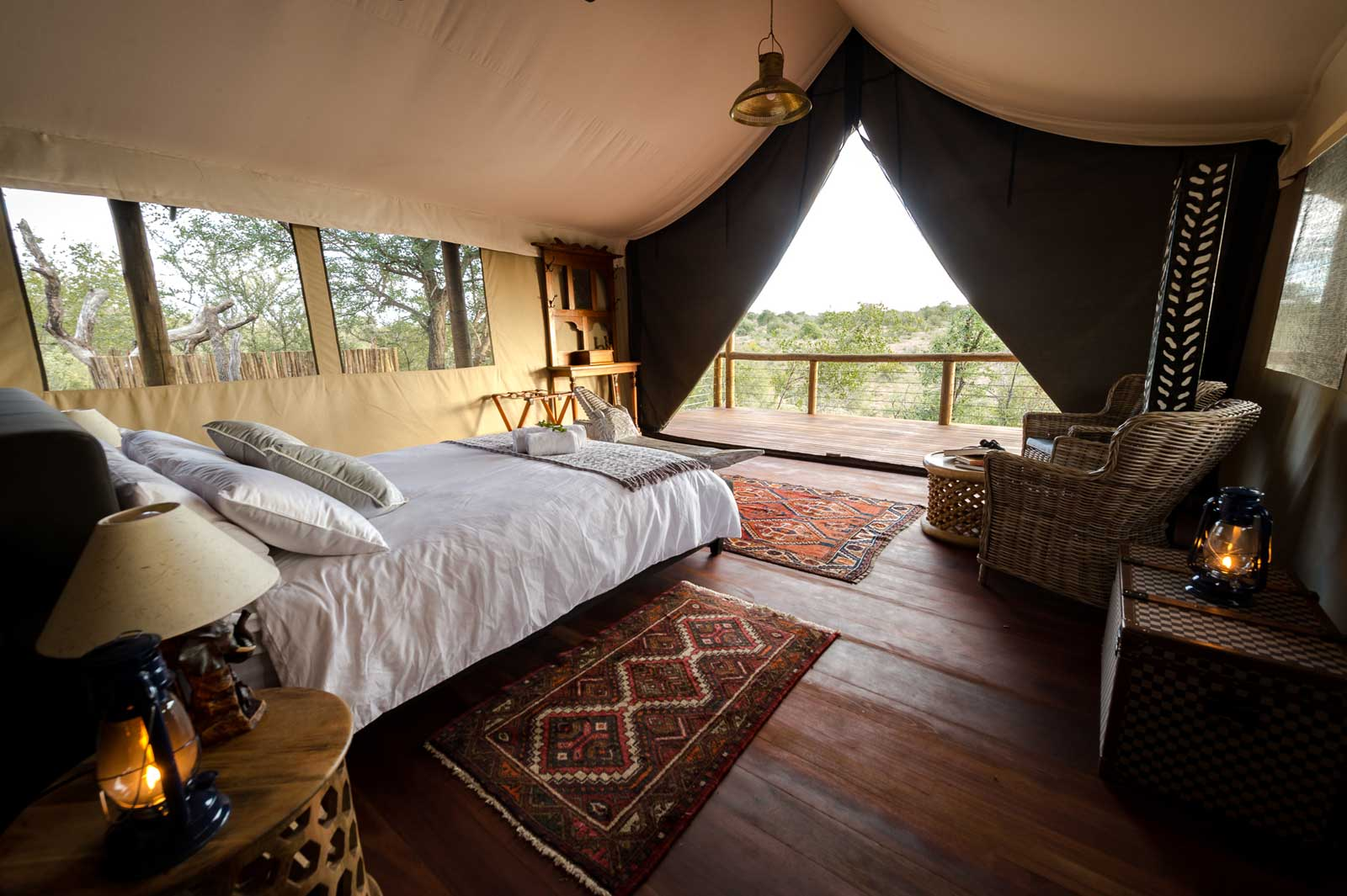 Ivory WIlderness river facing tent