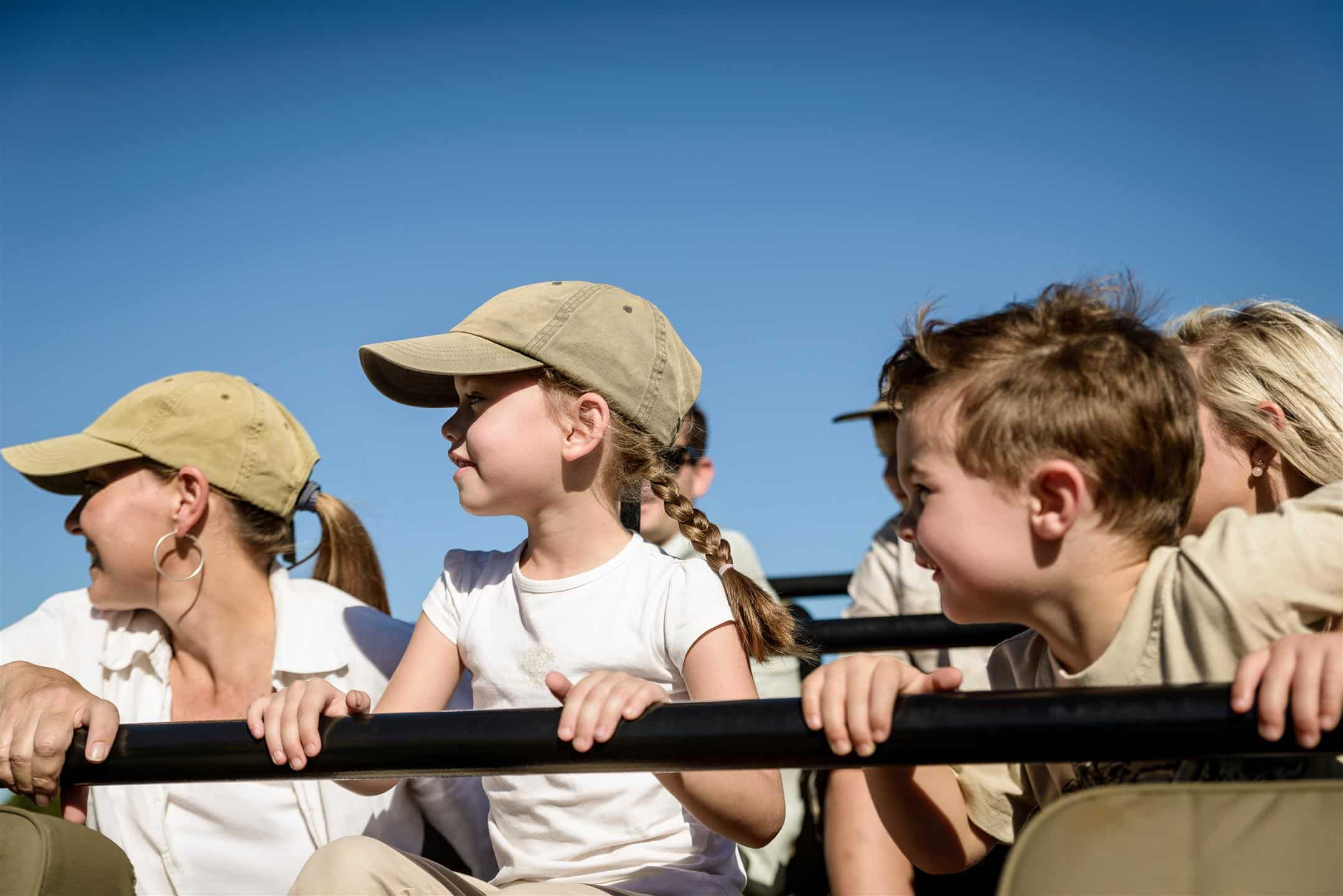 Kids on drive at Singita Ebony