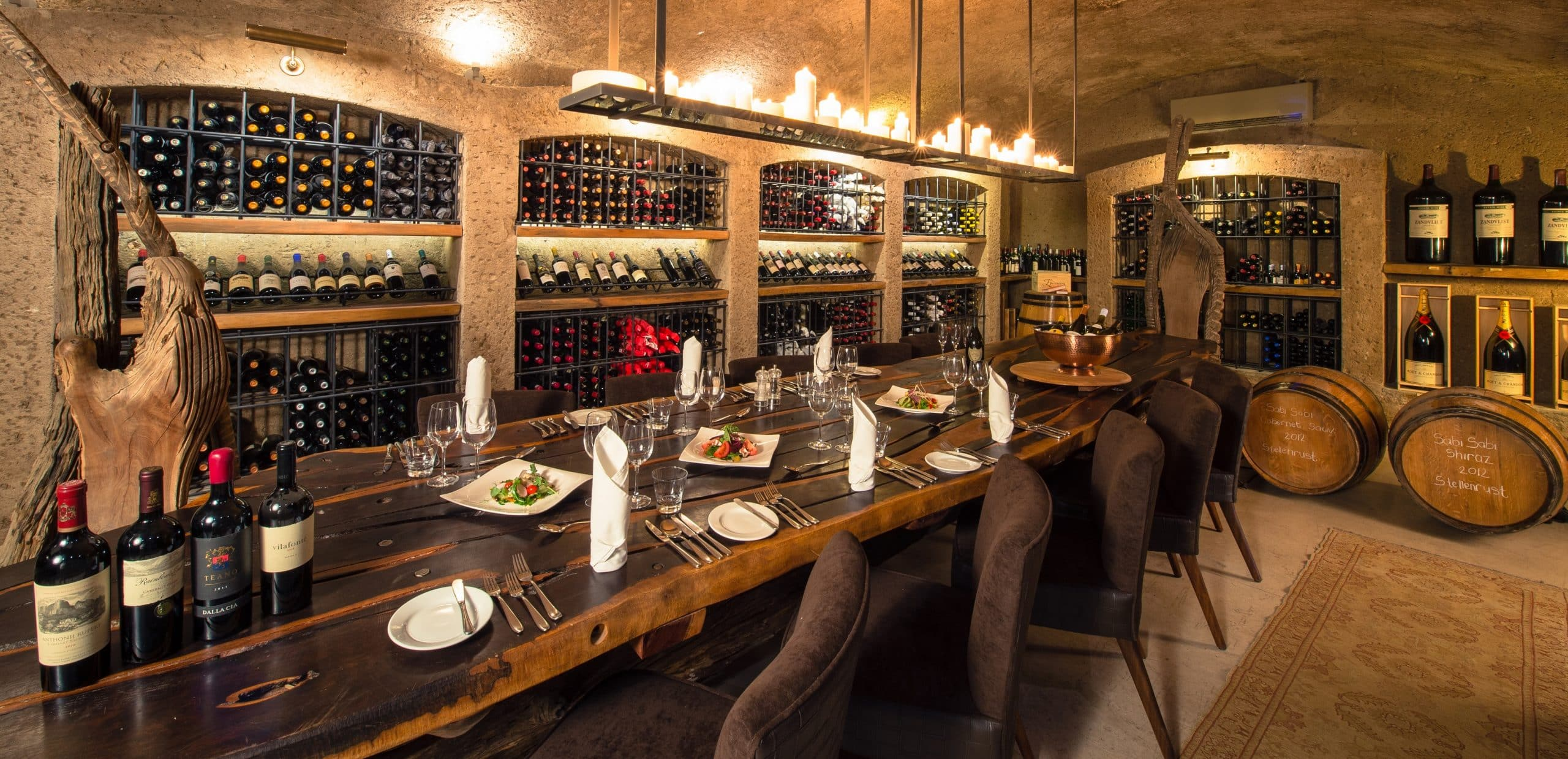 Earth Lodge wine cellar