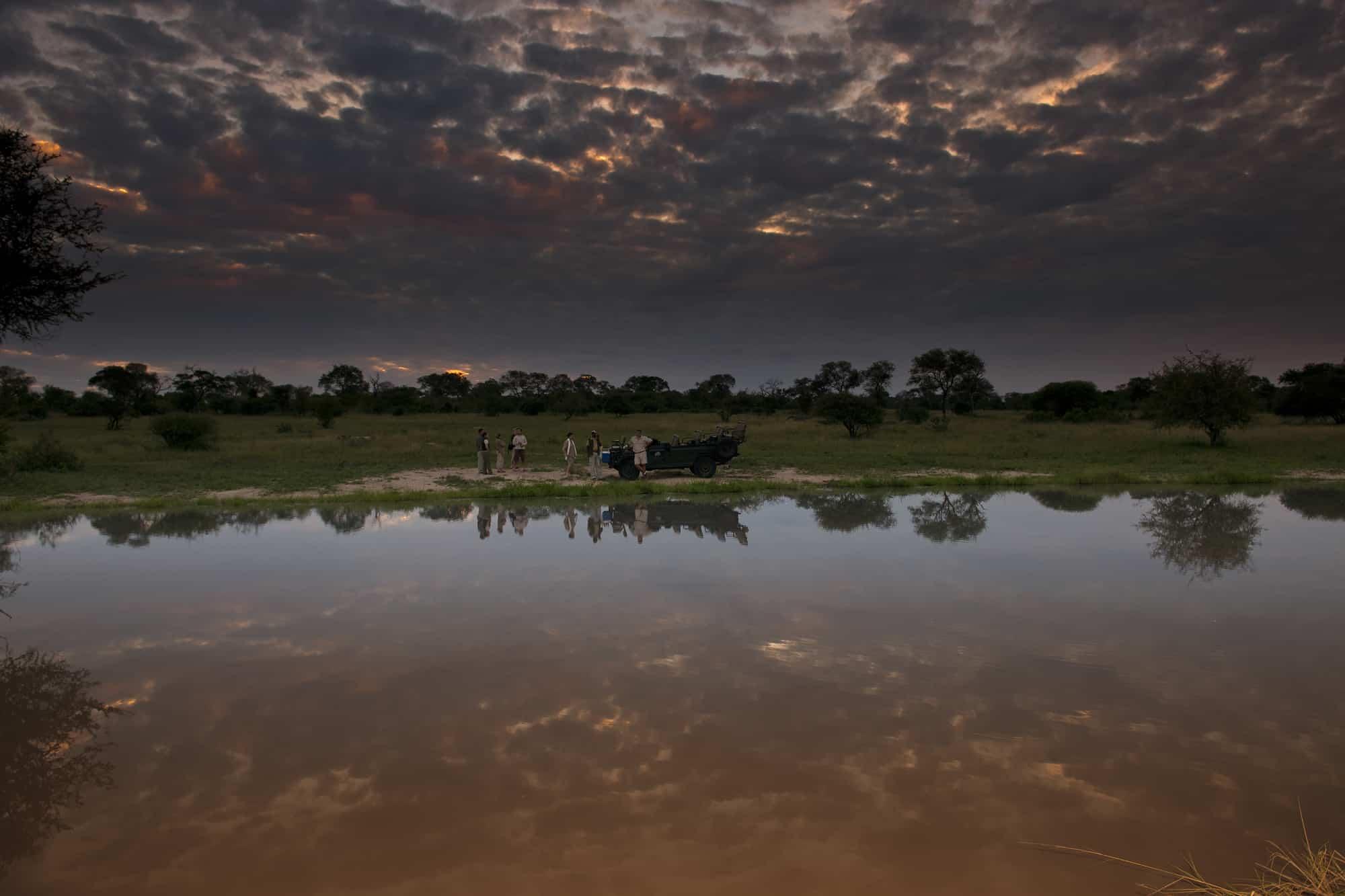 Dam sundowners at Elephant Plains