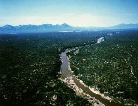Aerial view of the Olifants river at Lissataba